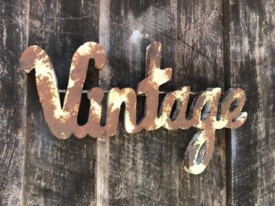 """Recycled Metal Sign """"Vintage"""" Retro  Antique White w Rusty Patina- Industrial"""