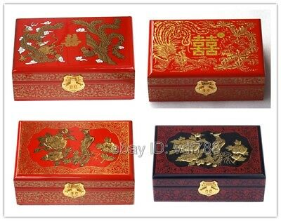 Chinese 2 Layer Dragon Phoenix Wood Storage Wedding Jewelry Box Carrier Case