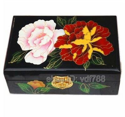 Ancient Chinese 2 Layer Flower Retro Wood Wedding Jewelry Box Storage Case Boxes