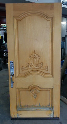 "VINTAGE 36"" x 80"" ENTRY DOOR CARVED DESIGN HEAVY SOLID WOOD"
