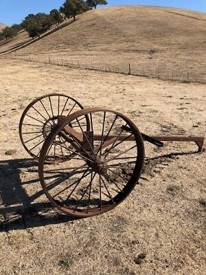 Antique frame to old seeder --- tractor pulled farm equipment primitives