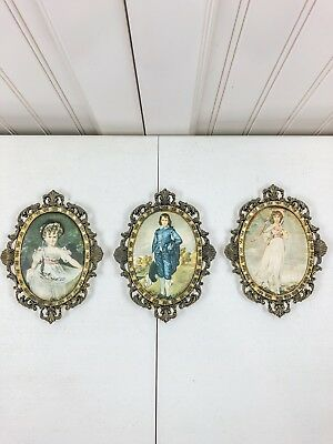 Lot of 3 Antique Victorian Miniature Children Portrait Paintings Ornate Frames