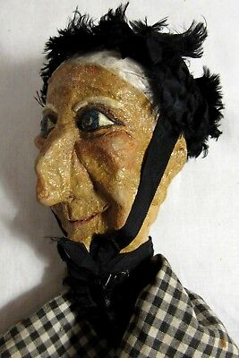 Antique Hand Made Vintage Punch and Judy PAPER MACHE FOLK ART Puppet Toy Doll