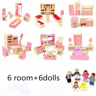 Wooden Furniture Dolls House Family Miniature Room 6 Room 6 Dolls For Kids Gift