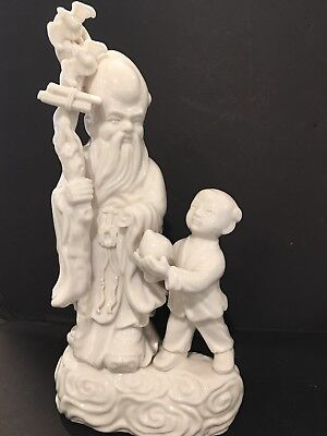 "9"" RARE ANTIQUE CHINESE EXPORT BLANC DE CHINE PORCELAIN CERAMIC-FIGURINE As Is"