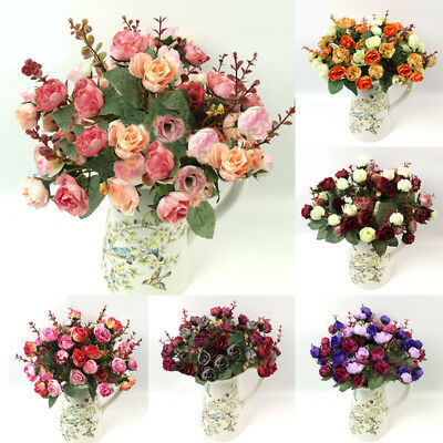 Large Artificial Rose Silk Flowers 21Flower Head Floral Fake Wedding VARIOUS