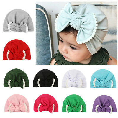 Newborn Toddler Infant Baby Boy Girl Indian Turban Bowknot Cotton Beanie Hat Cap