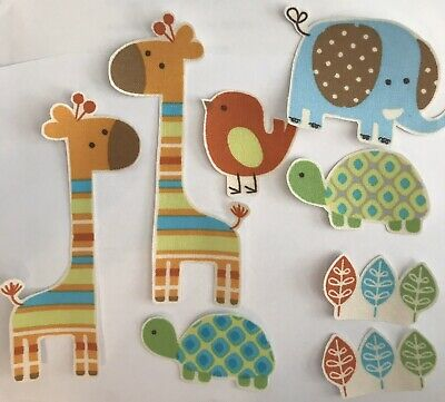 Pastel Giraffes and Friends - Iron On Fabric Appliques / Jungle Animals