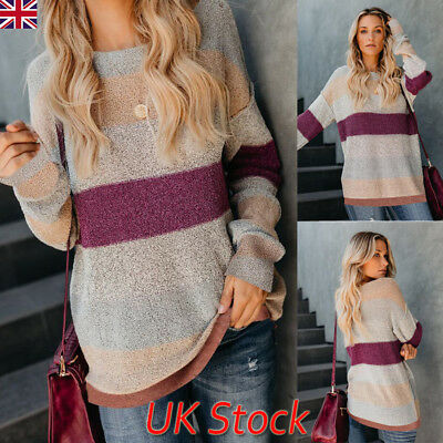 UK Womens Ladies Autumn Long Sleeve Striped Tops Loose Jumper Blouse Plus Size