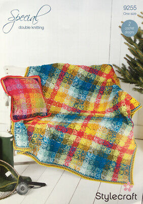Stylecraft 9255 Blanket and Cushion Cover Crochet Pattern