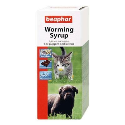Beaphar Roundworm WORMING SYRUP Choc Puppy Kitten Pet Oral Wormer Treatment 45ml