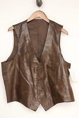 VTG Deadstock Tadmor Mens Vest 46R Solid Brown Soft Leather Waistcoat NWT