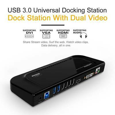 Wavlink USB3.0 Universal Docking Station Dual Video Monitor Display DVI HDMI VGA