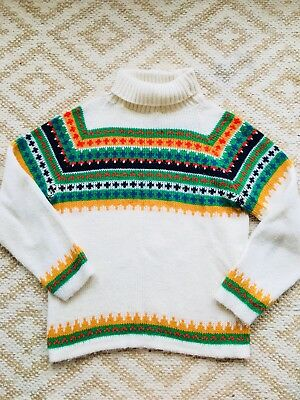 Vtg 60s Fair Isle Nordic Knit Turtleneck Sweater Bright Pattern Small Adorable