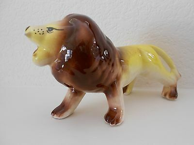"Vintage Ceramic Porcelain AFRICAN LION  figurine 1940's-50's Japan? 7"" long"