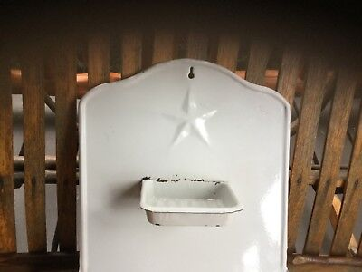 ANTIQUE VINTAGE 1960`s GRANITEWARE White Porcelain Enamel TIN HANGER for TOWELS