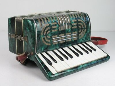 Vintage Instrument Musical Accordion Upholstered Effect Mother-Of-Pearl Verde