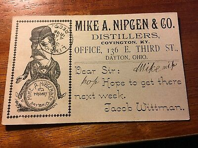 Rare 1896 Advertising Postcard Mike A. Nipgen Distillers Company in Dayton, Ohio