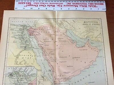Original 1886 Map of Egypt. Engraved, Color by W and A. K. Johnston