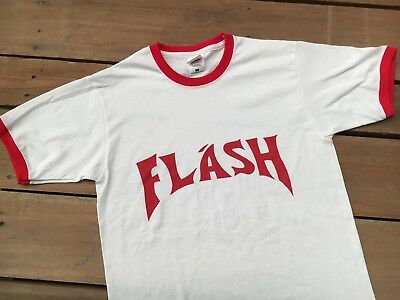 FLASH GORDON 80's RETRO RINGER T SHIRT  FANCY DRESS M-XL