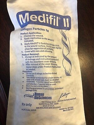Medifil II Particles Collagen Wound Dressing 1 Gram Exp11/2022.  LOT OF 10