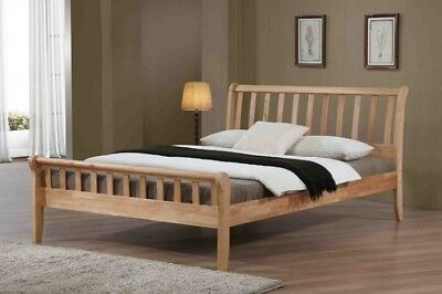 Padeswood Solid Wooden Bed Frame Sleigh Style In Oak 3FT Single Size