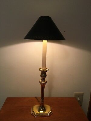 Brass Candlestick Buffet Lamp with Black Metal Shade Colonial