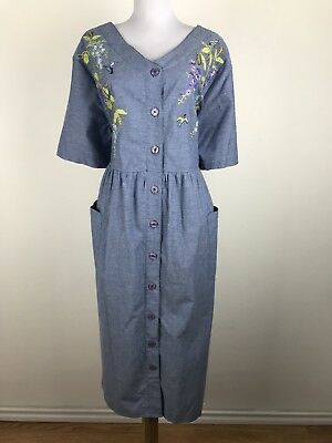 Go Softly Patio Blue Lady Bug Embroidered Trim Muu Muu Duster House