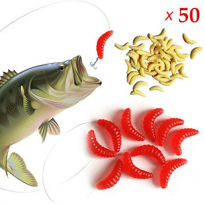 50pcs Soft Silicone Mealworms Maggot Grub Worm Fishing Lures Bait Tackle tall
