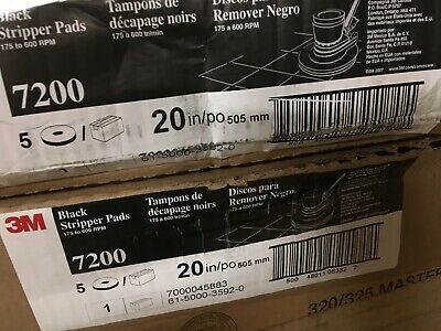 "2 Boxes of 5 -3M Floor Stripping Pad Black 20"" x .75"" Natural PES Fiber 7200"