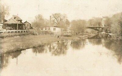 River Falls, Wisconsin-Railroad Depot-Bridge WI RPPC Real Photo Postcard