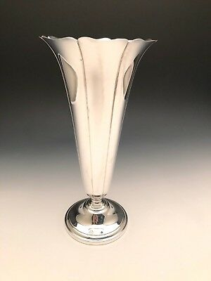 "Large Sterling Silver Trumpet Vase 12.5"" tall, Tuttle,  LBJ mark"
