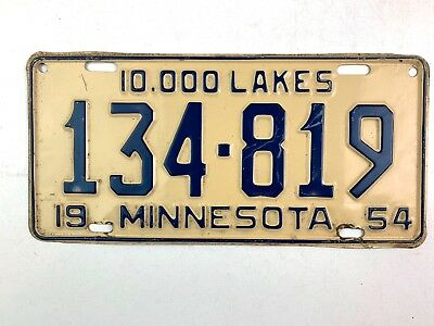 Minnesota 1954 Old License Plate Garage Vtg Tag 10000 Lakes Auto 50s Diner Decor
