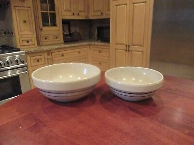 Vintage Nesting Stoneware Mixing Bowls With Double Blue Stripe Set Of Two