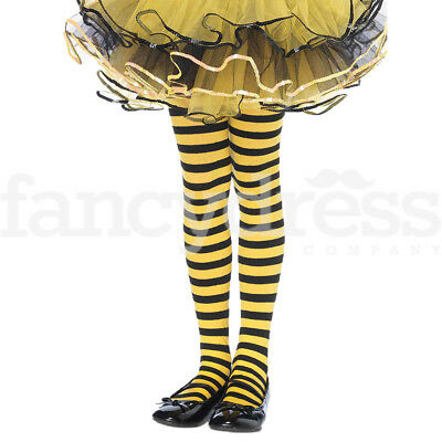 Girls Yellow & Black Striped Tights Bumble Bee Wasp Fancy Dress Age 7-10 NEW