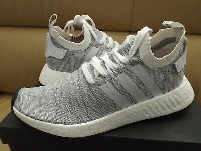 57f213412b61d Adidas NMD R2 PK Primeknit Men s Size 9 Boost Sneakers White Gray BY9410 NEW