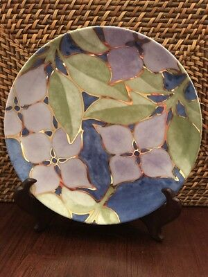 """Set Of 4 Beautiful Decorative Plates 8"""" Purple Floral With Blue &  And Gold Trim"""