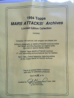 1994 Topps Mars Attacks! Archives Limited Edition Collection #66 of 70!
