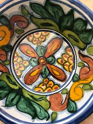 Talavera Intricate Mexican Folk Art Pottery Design Round Bowl Signed T Ruth
