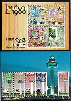 1980/1 Singapore 2 Foglietti Nuovi London Stamp Exib. e Changi Airport - New MNH