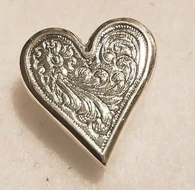 Silver Plated Engraved Heart Concho
