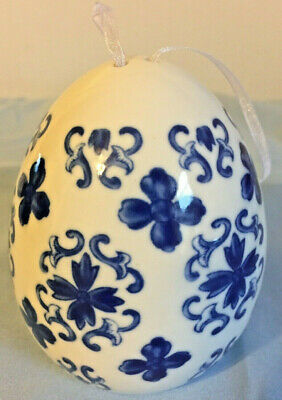 Blue Porcelain Egg Light Up Christmas Ornament