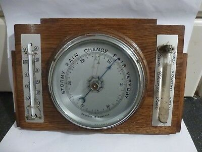 Vintage Combination Weather Station : Barometer, Thermometer + Storm Glass Tube