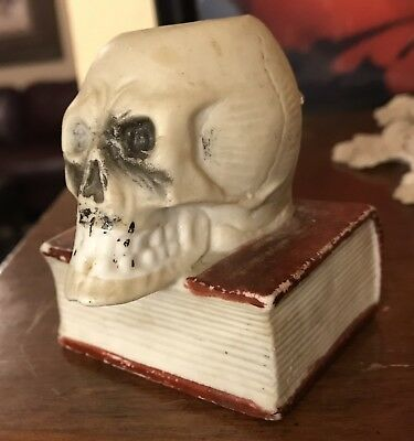 828318a5f1de VINTAGE SKULL MATCH Striker-bisque-Japan-match Holder-skull On Book ...