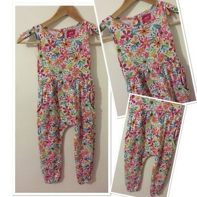 Tu Girls Summer Trendy Floral Jumpsuit Outfit 3-4 Years