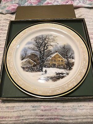 Lenox Currier & Ives Christmas Issue 1987 Winter In The Country A Cold Morning