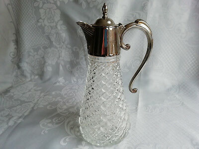 Large Victorian Silver Plated Glass Claret Jug Decanter vgc