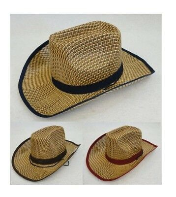 c107b42f171 30pc Wholesale Lot Assorted Straw Cowboy Western Hats w Colored Band + Trim