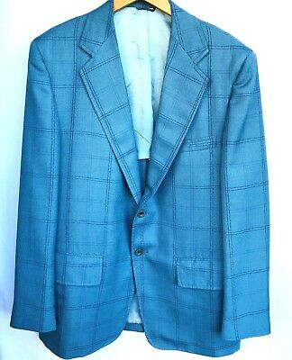 cef15af8859 Vtg Clipper Craft Mens Blazer Suit Jacket Sz 42 RegTeal Blue Windowpane 2  Btn
