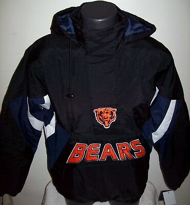 CHICAGO BEARS Starter Hooded Half Zip Pullover Jacket S M L XL 2X BLACK